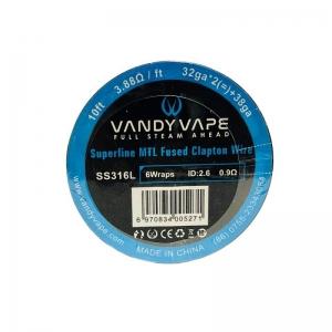 Vandyvape Superfine MTL Fused Clapton Wire SS316L(32GA*2*38GA)(VW.0047) 3m