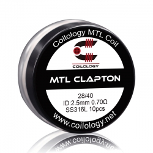 Set Rezistente MTL Clapton Coilology 28ga/40ga 2.5mm SS316L 0.7ohm 10buc