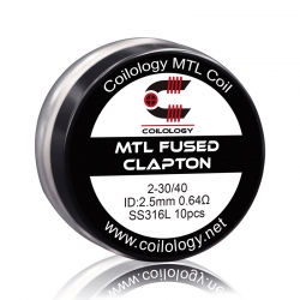 Set Rezistente MTL Fused Clapton Coilology 2*30ga/40ga 2.5mm SS316L 0.64ohm 10buc