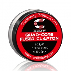 Set Rezistente Quad-Core Fused Clapton Coilology 4*28ga/40ga 3mm Ni80 0.28ohm 10buc