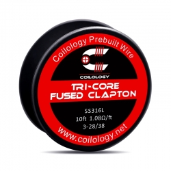 Rola Sarma Tri-Core Fused Clapton Coilology 3*28ga/38ga 10ft (3m) SS316L 1.08ohm/FT